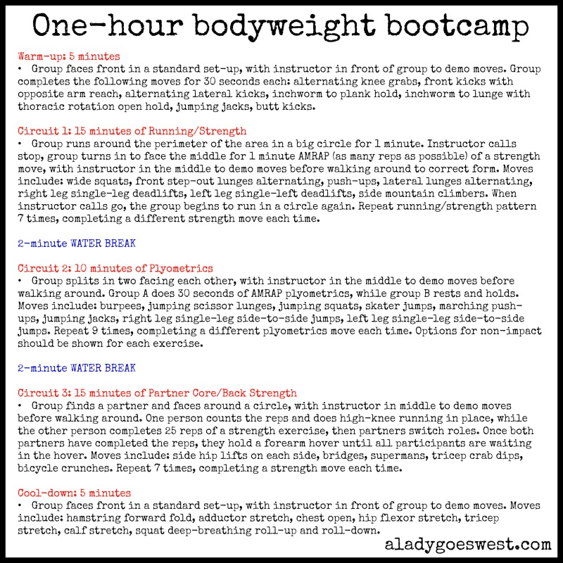 One-hour bodyweight no equipment bootcamp via A Lady Goes West