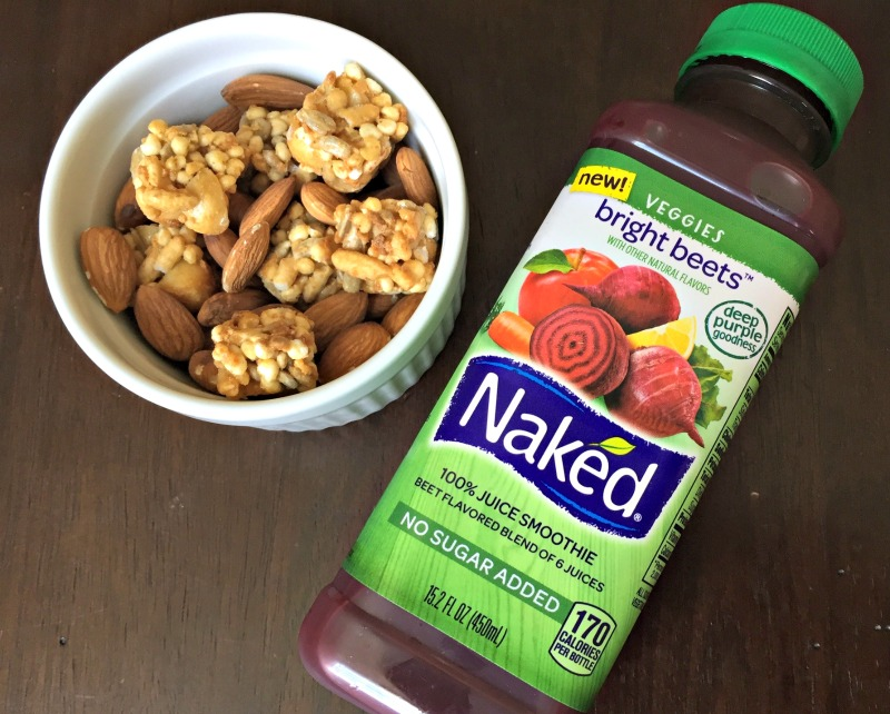 Naked Juice and trail mix for a snack 5.17