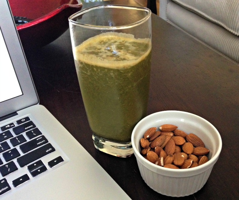 Green juice and almonds for a snack via A Lady Goes West