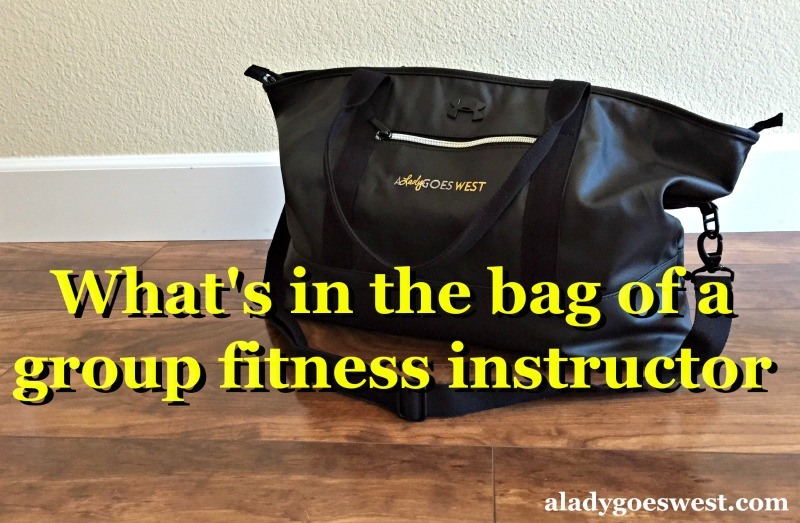 What's in the bag of a group fitness instructor via A Lady Goes West