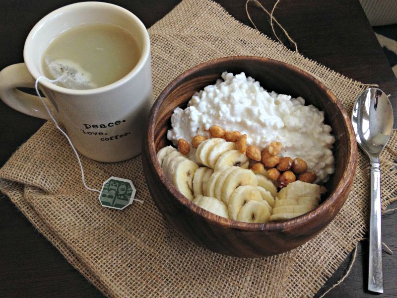 Breakfast - cottage cheese, nuts, banana and tea via A Lady Goes West