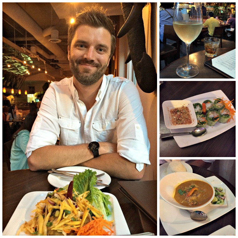 Dave eating dinner at Kacha Bistro in Walnut Creek via A Lady Goes West blog
