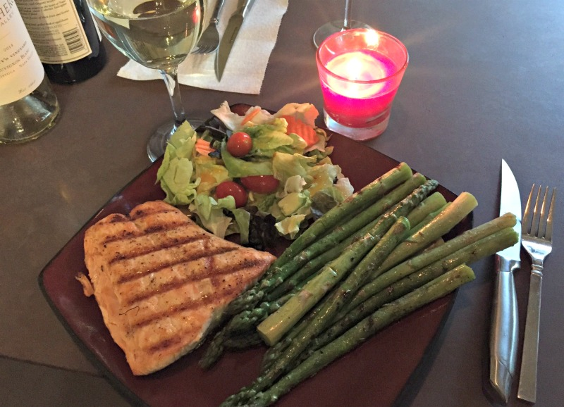 Grilled salmon dinner via A Lady Goes West daily eats
