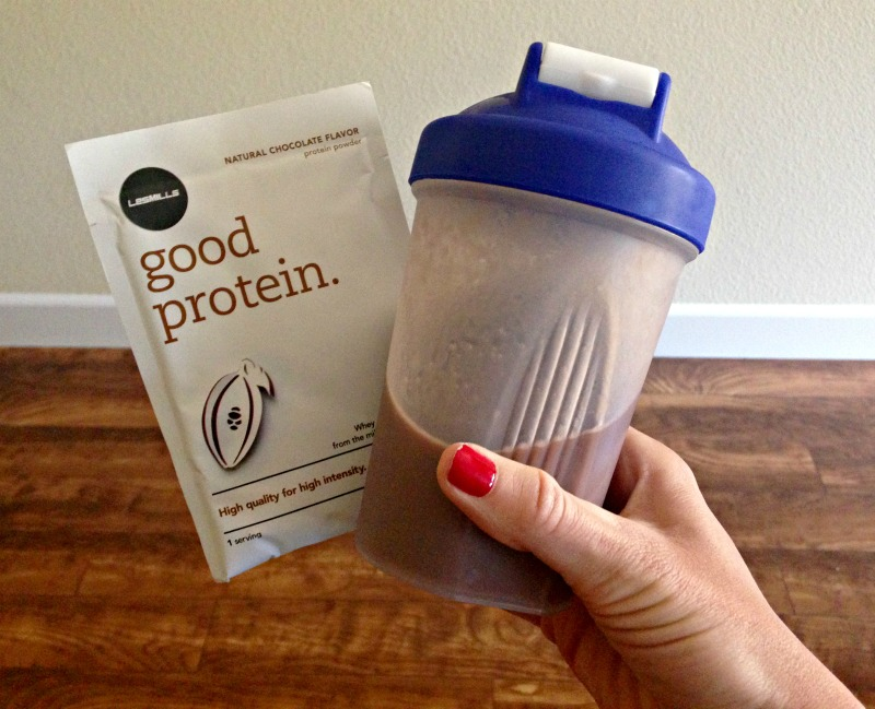 Les Mills Good Protein powder shake after a workout via A Lady Goes West blogLes Mills Good Protein powder shake after a workout via A Lady Goes West blog