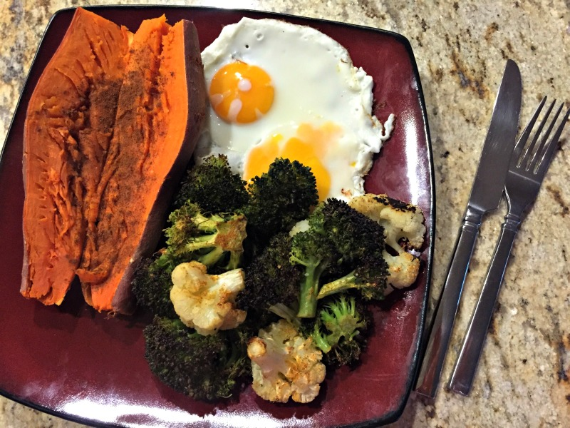 Sweet potato, eggs and veggies for dinner via A Lady Goes West blog What I Ate Wednesday