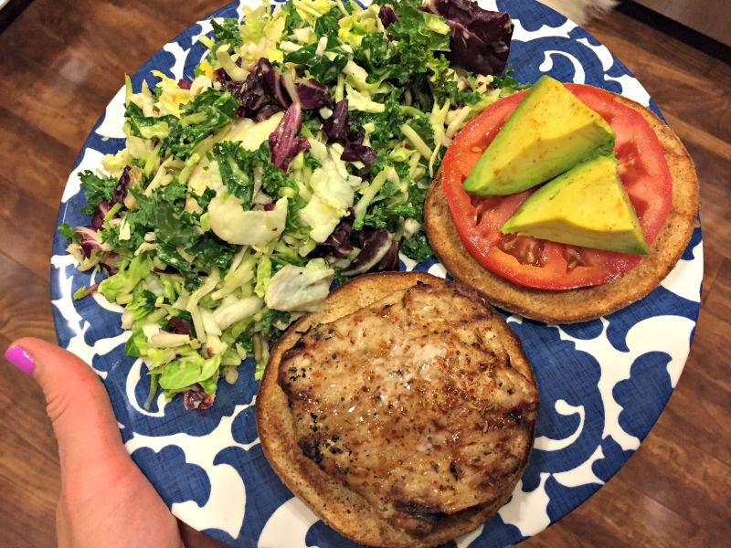 Turkey burger and kale salad for dinner via A Lady Goes West