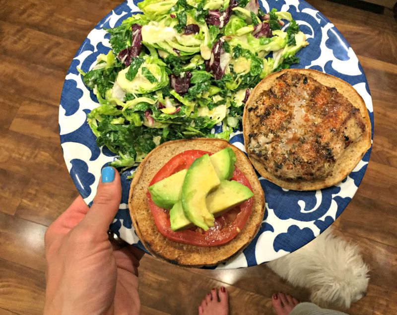 What I Ate Wednesday - grilled turkey burger dinner via A Lady Goes West