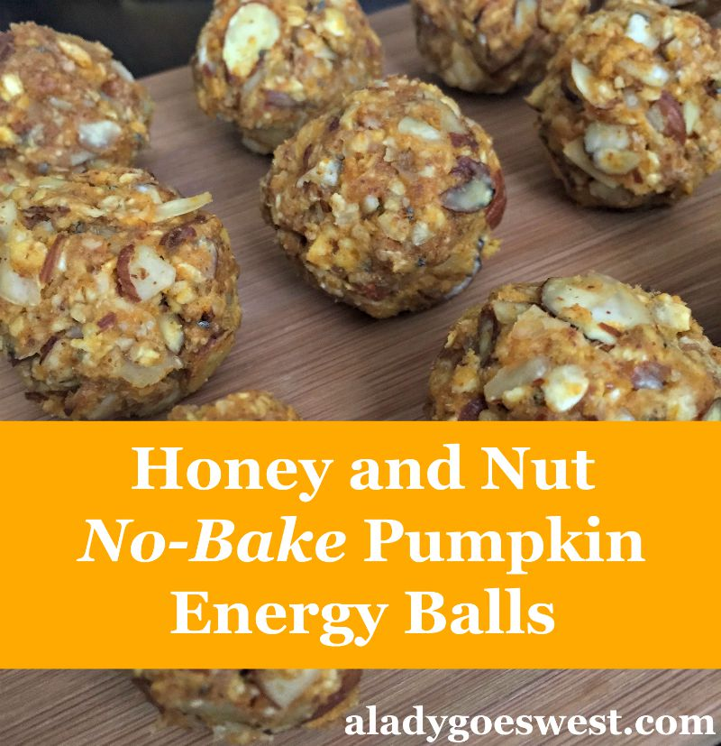 Honey and Nut No-Bake Pumpkin Energy Ball Recipe via A Lady Goes West blog