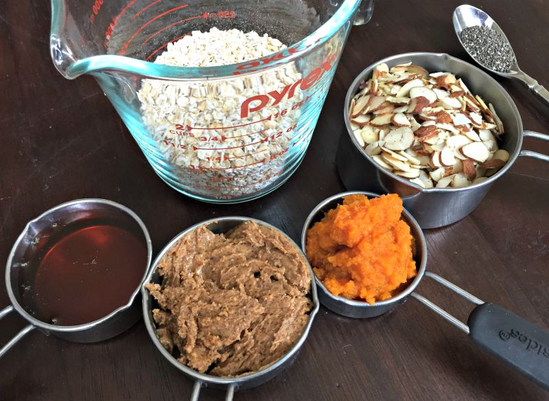 Honey and nut no-bake pumpkin energy balls ingredients via A Lady Goes West