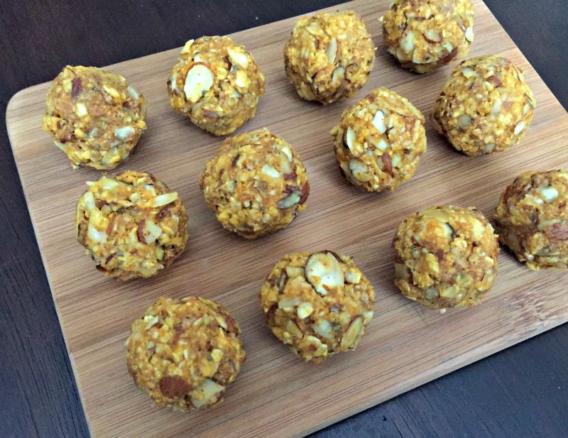 Honey and nut no-bake pumpkin energy balls recipe