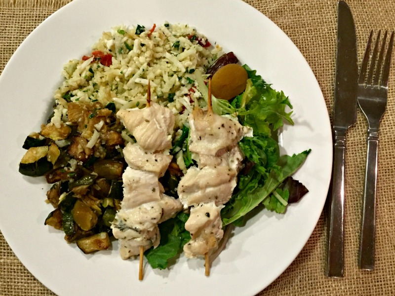 Paleo chicken kebab dinner via A Lady Goes West
