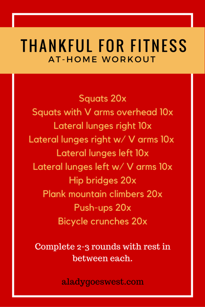 Thankful for fitness bodyweight workout via A Lady Goes West blog
