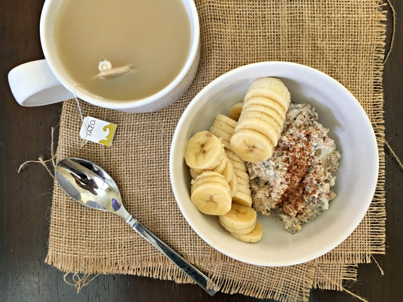 WIAW - Overnight oats and tea for breakfast