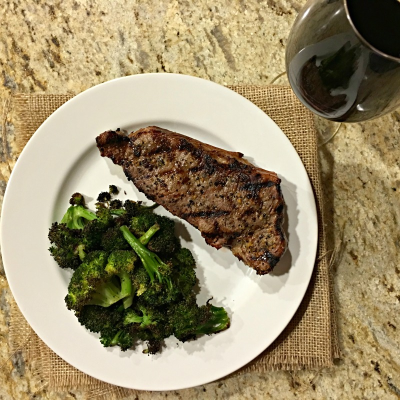 WIAW Steak dinner and wine via A Lady Goes West