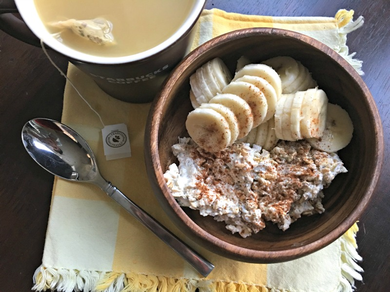 WIAW - overnight oats and tea for breakfast via A Lady Goes West