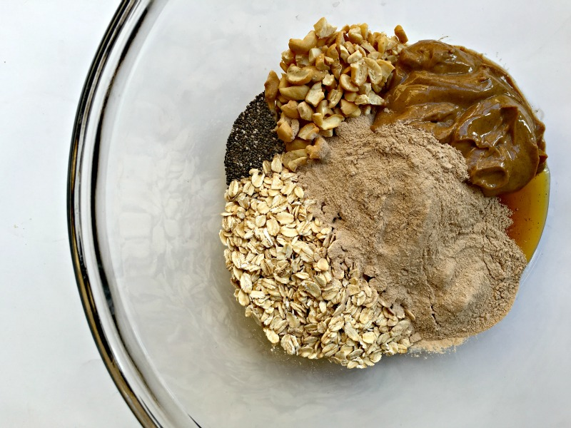 Chocolate cashew no-bake protein ball ingredients via A Lady Goes West