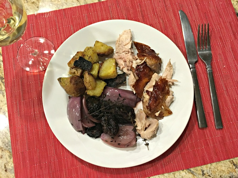 What I ate for dinner - roasted chicken, veggies and potatoes by A Lady Goes West blog