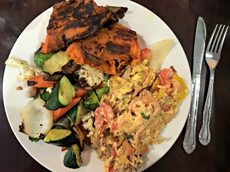What I ate for lunch - omelet, veggies and potato via A Lady Goes West