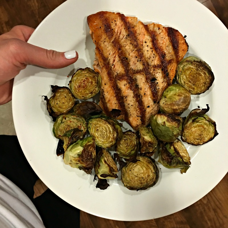 Salmon and brussels for dinner via A Lady Goes West blog