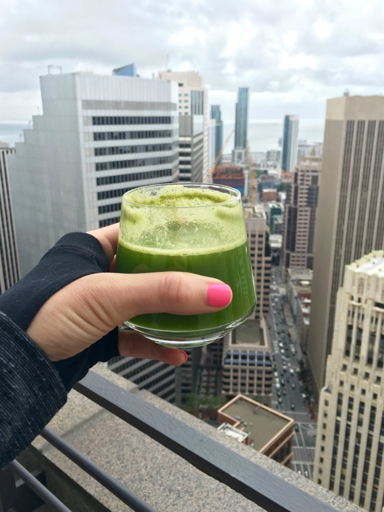 Juice after Sky Deck Yoga in San Francisco