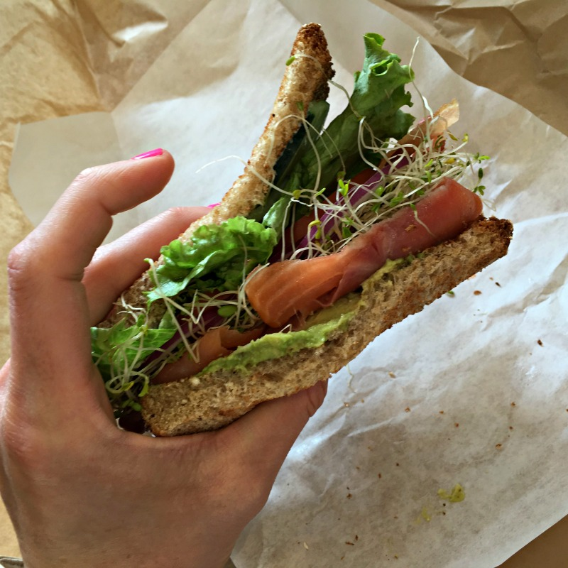 Smoked salmon sammie from Yountville Deli by A Lady Goes West