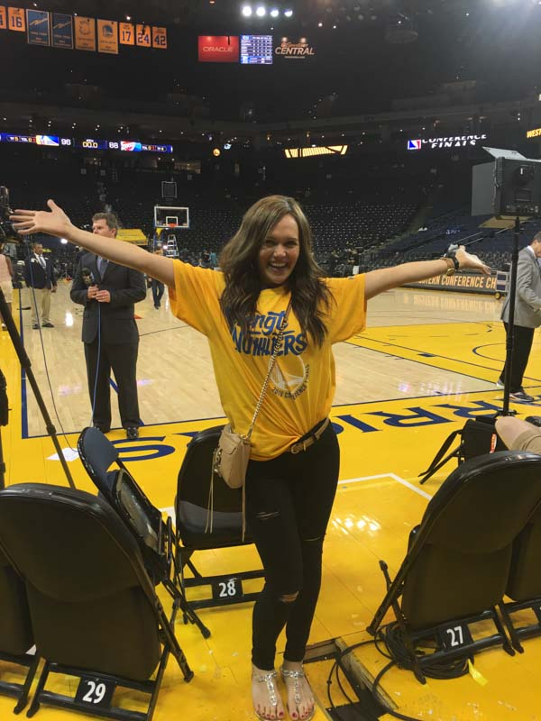 Ashley on the floor at Golden State Warriors game - favorite things (
