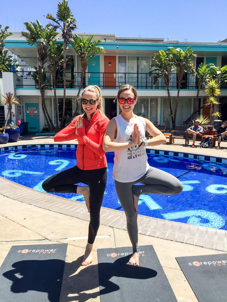 Ashley and Jill in tree pose at CorePower by A Lady Goes West