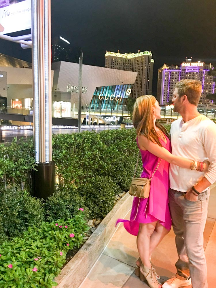 Ashley and Dave near Cosmo in Vegas by A Lady Goes West
