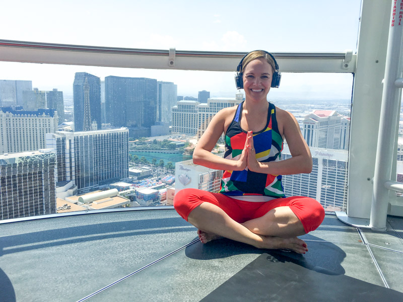 Ashley doing yoga in the High Roller in Vegas by A Lady Goes West