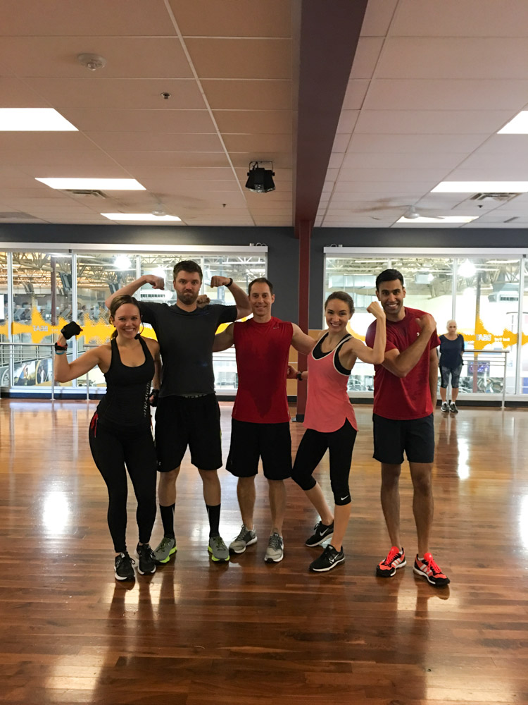 Group of friends flexing after BODYPUMP by A Lady Goes West
