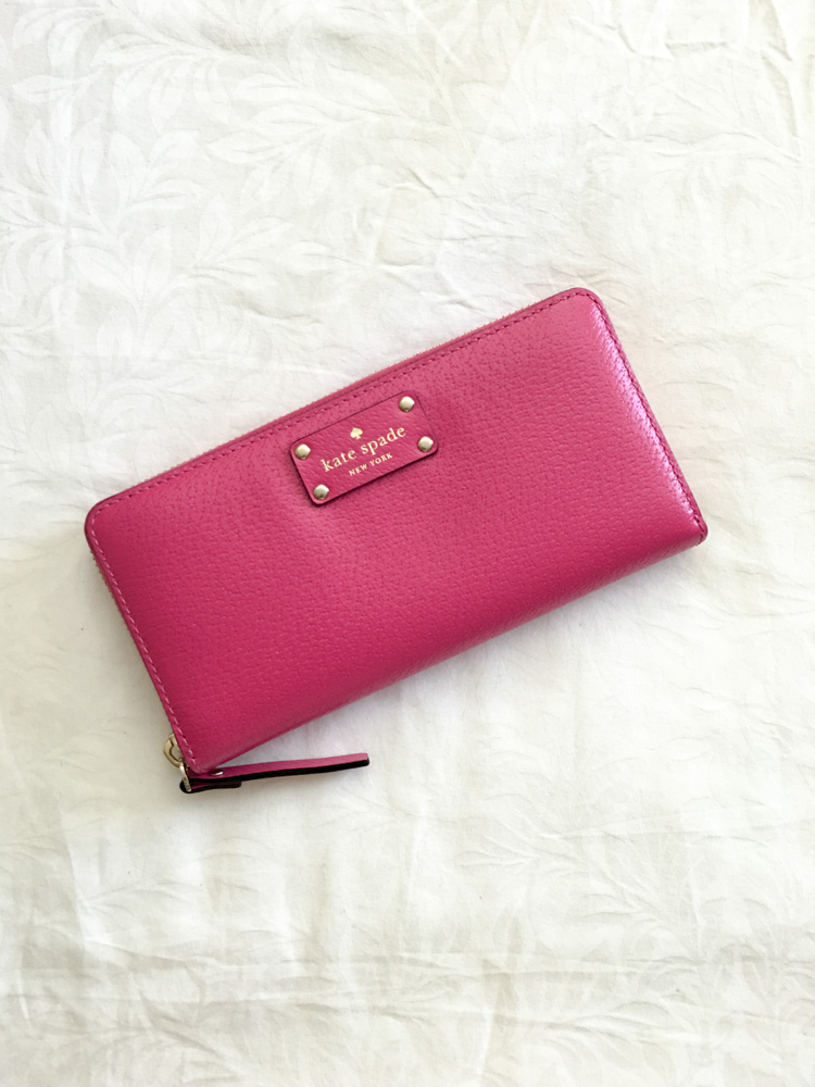 Pink Kate Spade wallet by A Lady Goes West