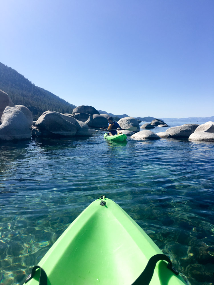 Kayak view in Lake Tahoe by A Lady Goes West