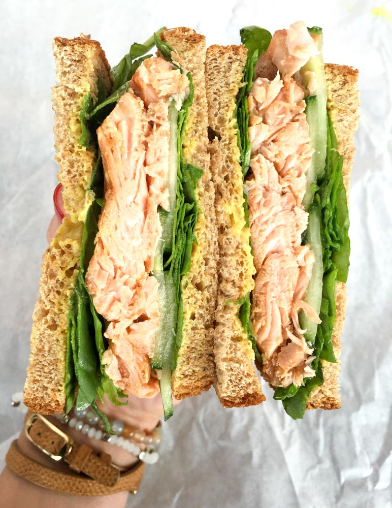 Salmon sandwich from Fifth Avenue Deli by A Lady Goes West