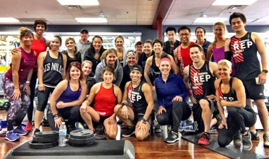 Les Mills BODYPUMP participants at the Mini Q by A Lady Goes West