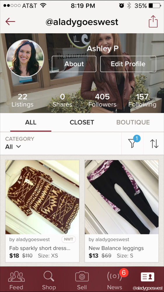 Poshmark profile by A Lady Goes West