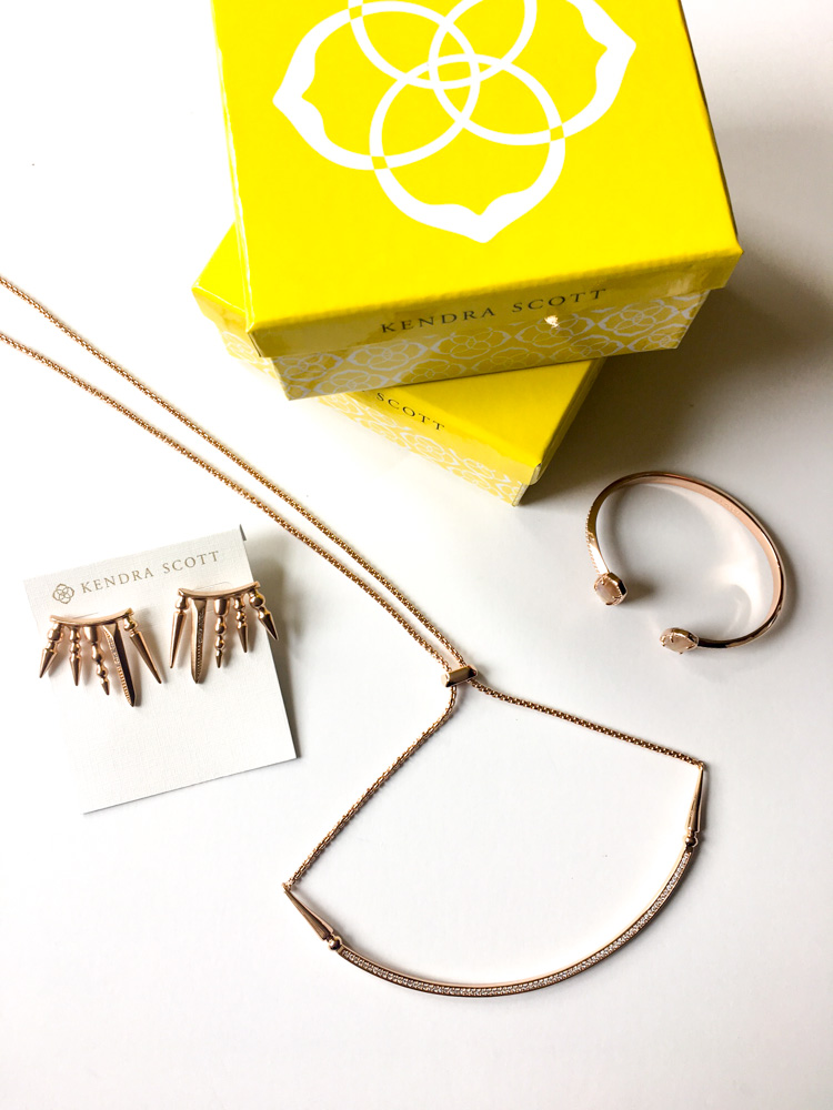 Rose gold Kendra Scott jewelry by A Lady Goes West