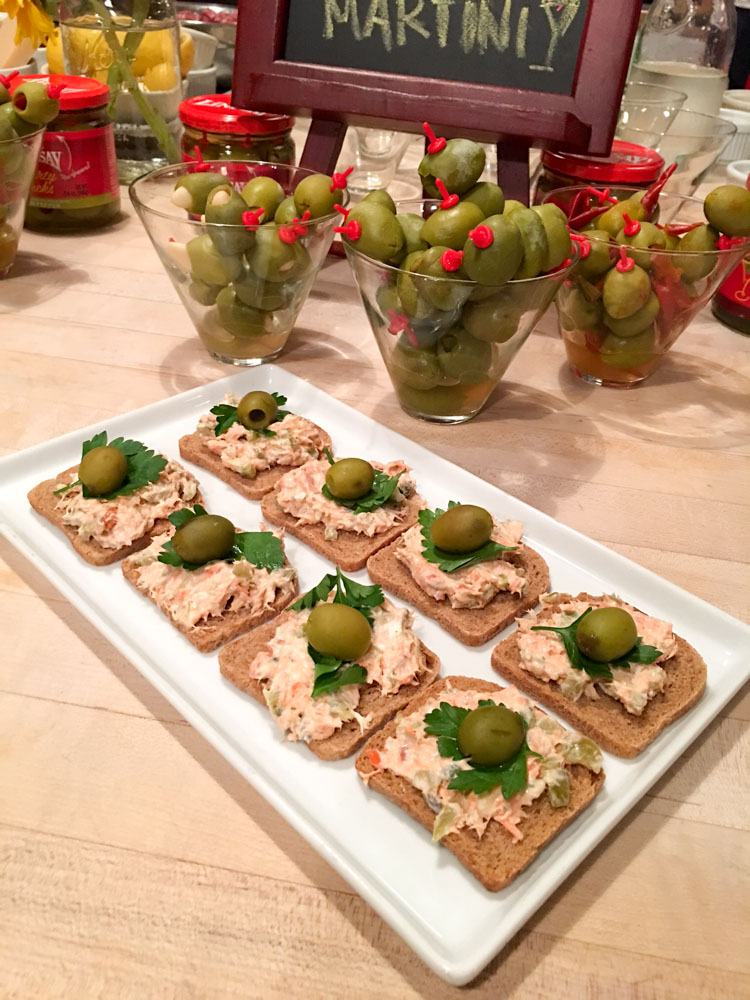 Salmon bites with Lindsay Olives by A Lady Goes West