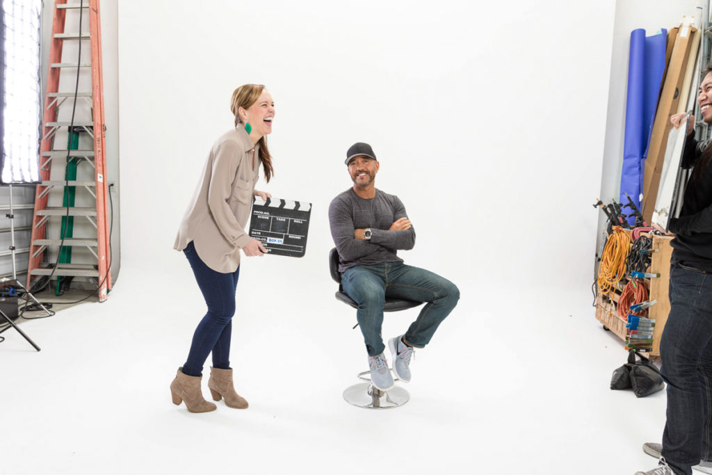 Ashley and Shawn Stevenson on set by A Lady Goes West