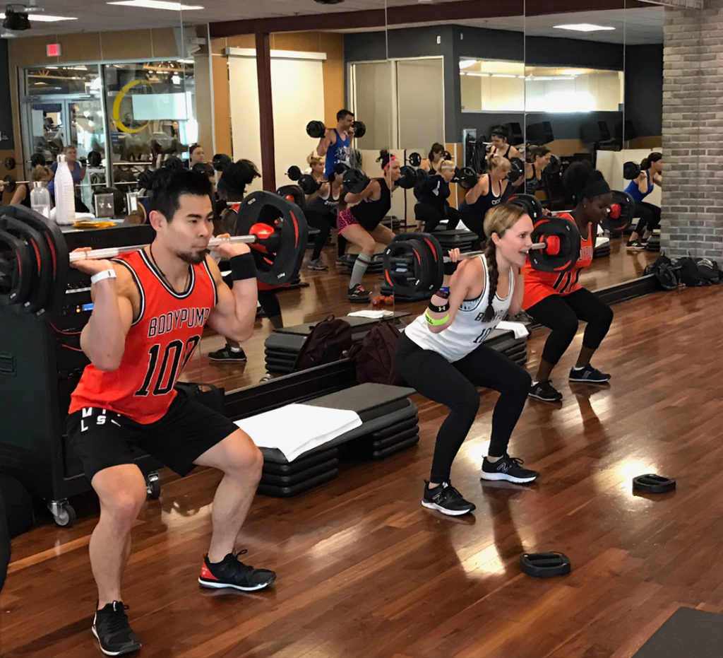 Team teaching Les Mills BODYPUMP 100 by A Lady Goes West