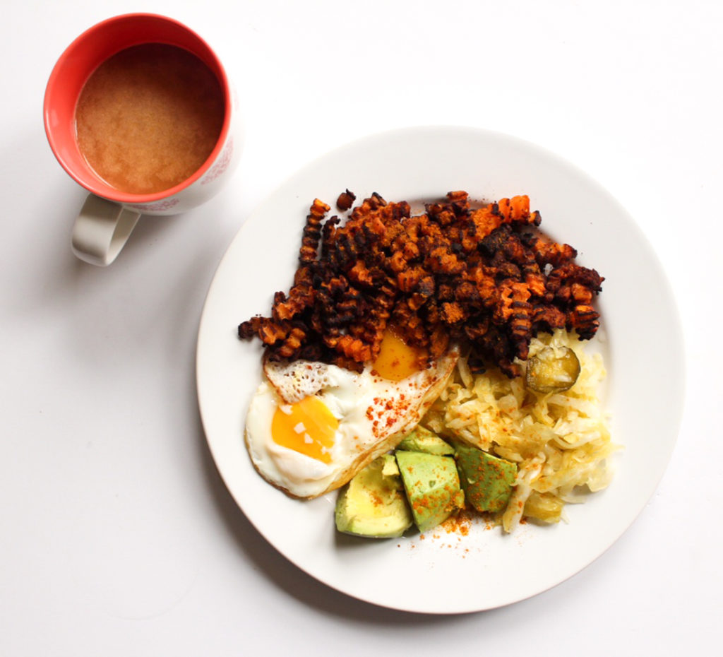 Bone broth, butternut squash fries, eggs and avo lunch by A Lady Goes West