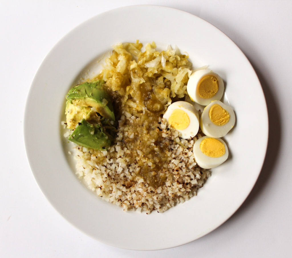 Caulilower rice, sauerkraut, eggs and avo lunch by A Lady Goes West
