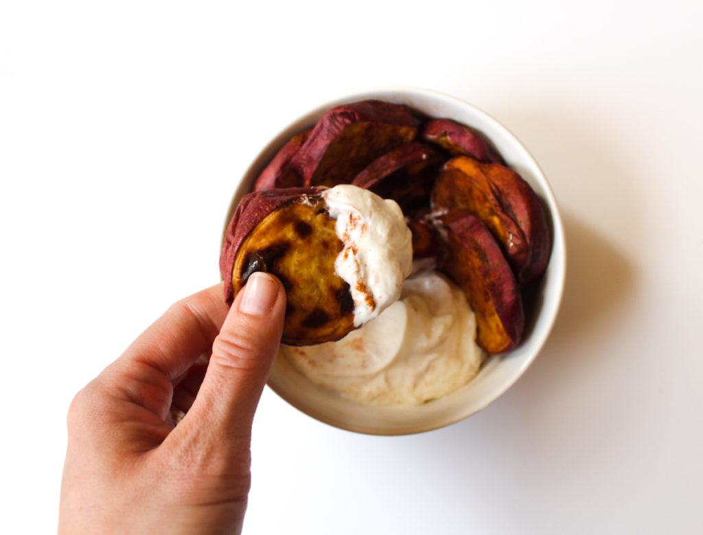 Roasted sweet potatoes and yogurt breakfast by A Lady Goes West