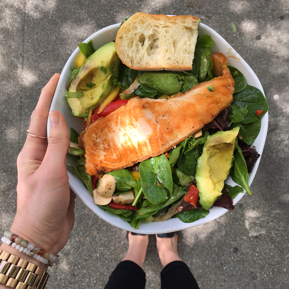 Delicious salad with salmon from Lettuce by A Lady Goes West
