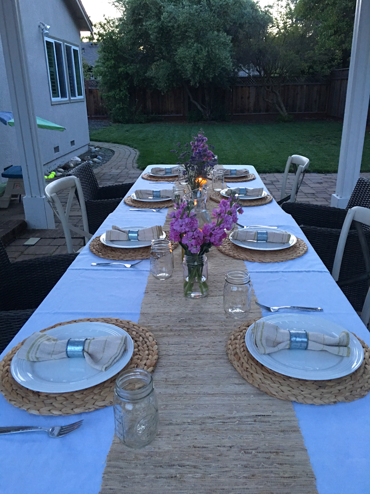Dinner party setting by A Lady Goes West