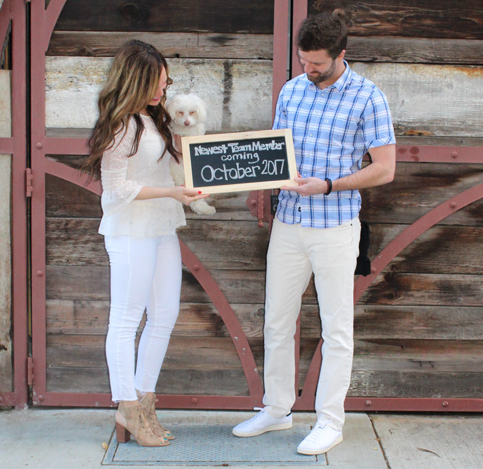 Pregnancy announcement picture by A Lady Goes West