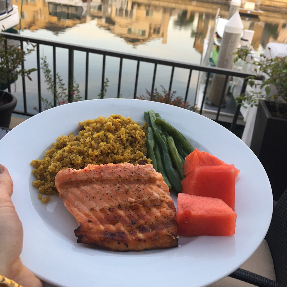 Healthy salmon dinner on Coronado by A Lady Goes West