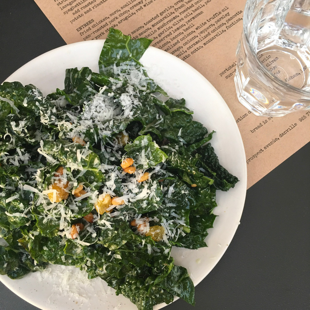 Lemon kale salad at Pizza Antica by A Lady Goes West