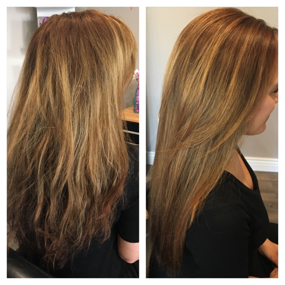 Ashley's before and after hair by A Lady Goes West