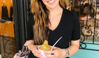 Ashley at 32 weeks pregnant in WC eating Pressed Juicery freeze by A Lady Goes West