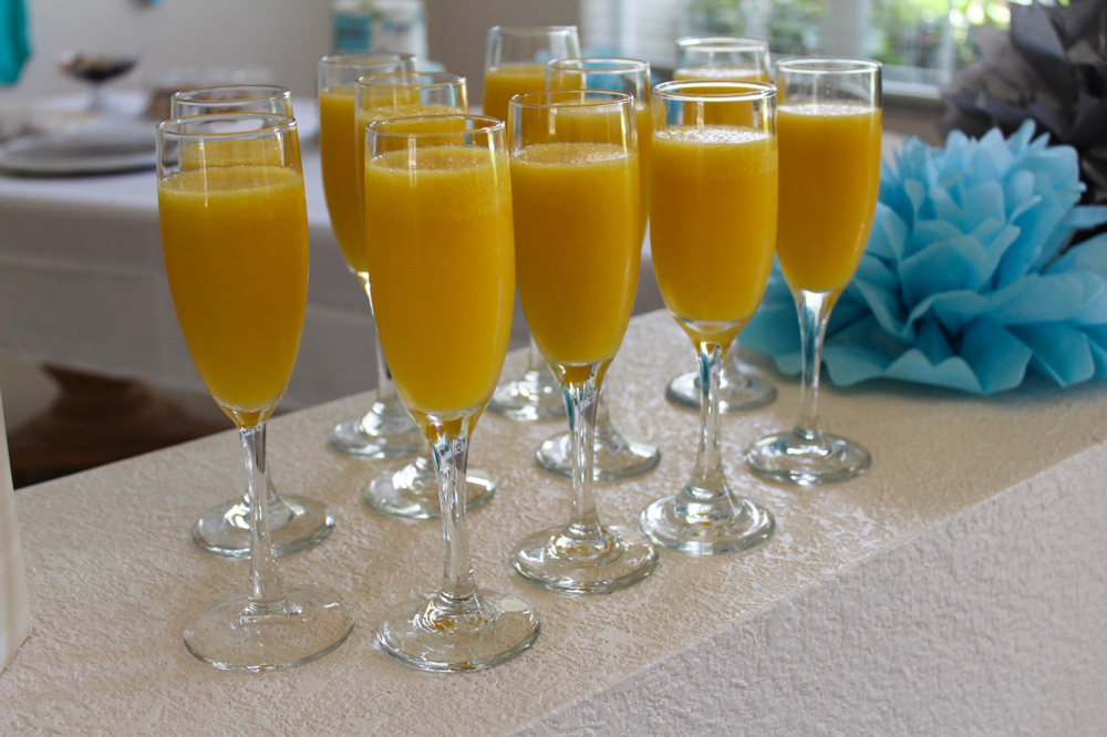 Mimosas at the baby shower by A Lady Goes West